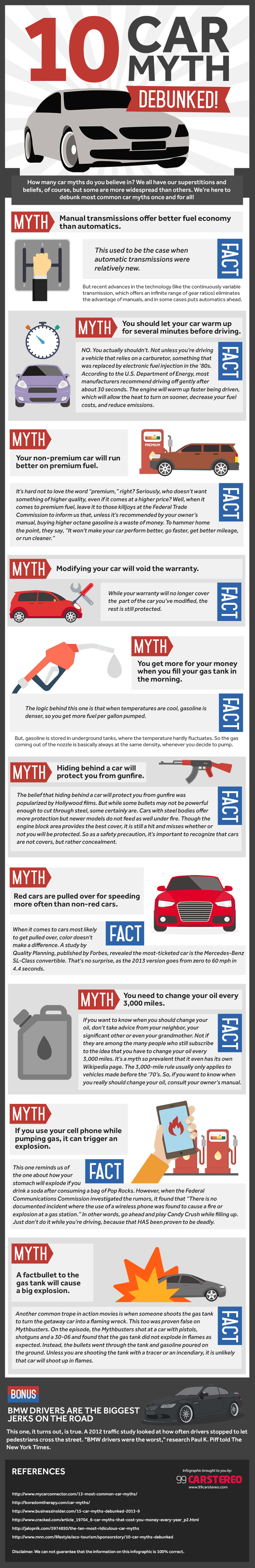 10 Car Myths Debunked infographics